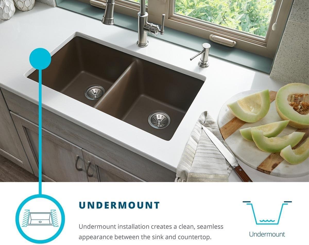 Elkay Quartz Classic ELGRU13322GS0 Greystone Single Bowl Undermount Sink