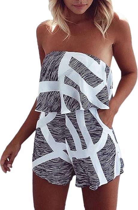 d691280e9d Yuandy Women Off Shoulder Ruffles Jumpsuit Strapless Floral Print Beach  Shorts Rompers