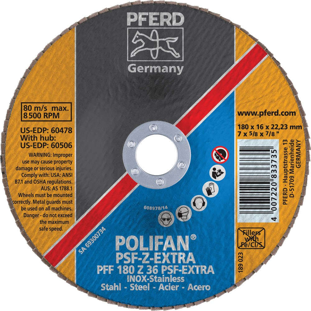 7//8 Arbor Hole 36 Grit 7 Diameter 7//8 Arbor Hole PFERD Inc. PFERD 60478 Polifan PSF Z-Extra Type 27 Flat Flap Disc 8600 RPM Zirconia Alumina 7 Diameter