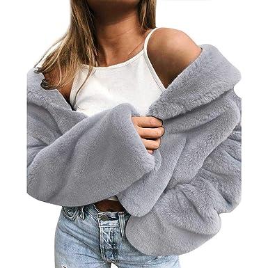 Yvelands Mujeres Abrigo de Invierno Manténgase Abrigos Abrigos Sueltos Abrigo de Piel sintética Outwear Tops Blusa: Amazon.es: Ropa y accesorios