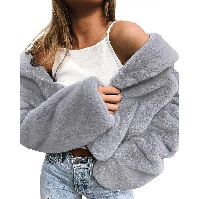 Longra Damen Wintermantel Faux Pelzmantel Outwear Warme Oberbekleidung Damen Teddy Fleece Mantel Kurz Strickjacke Cardigan Wintermode