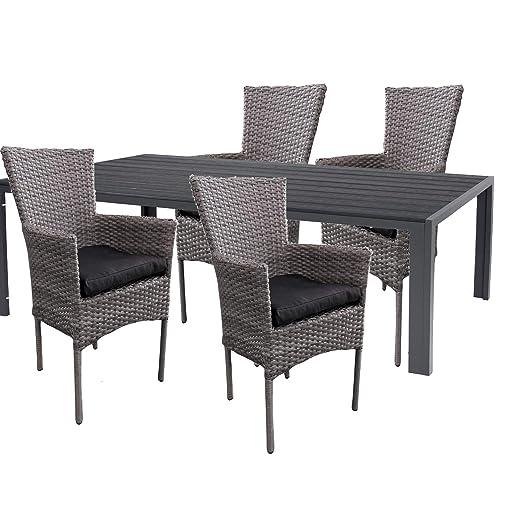 Mojawo - Juego de Mesa y 4 sillas para jardín (150 x 90 cm ...