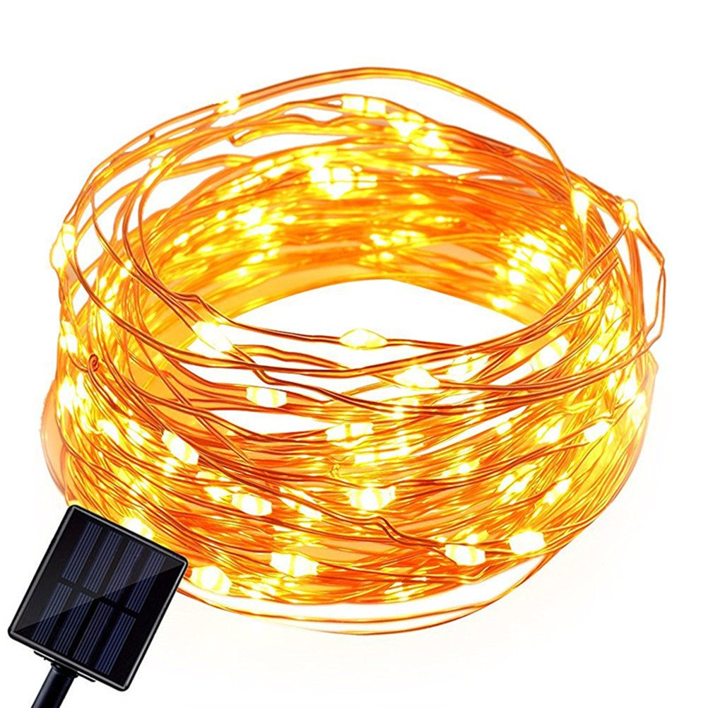 LEDMOMO Solar Power String Light Copper Wire Waterproof Lights 10M 100 PCS For Chritsmas Wedding Halloween Patio Party Decorations (Warm White) by LEDMOMO (Image #1)