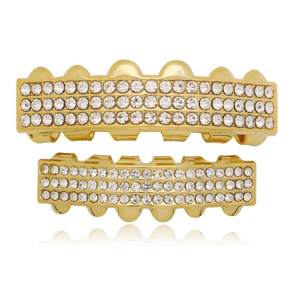 Lureen 14k Gold Silver Iced Out 3 Rows Bar Teeth Grillz Hip Hop Teeth (Gold)