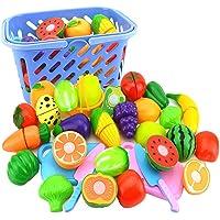 NIWWIN leknäringssats för barn, så att du skär grönsaker och frukt – lek kökstillbehör 23 delar, med en leksakskniv och…