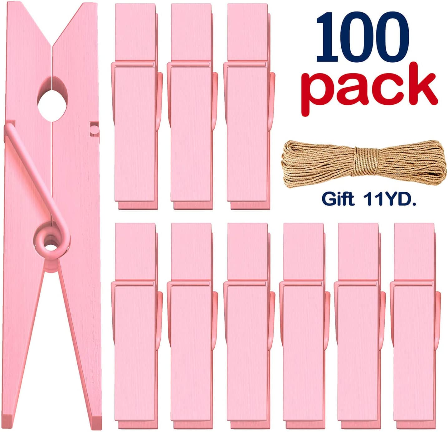 Clothes Pins Mini Clothespins Pink - 100 PCS Wooden Small Clothespins for Pictures with Jute Twine Tiny Photo Paper Clip, Ideal for Baby Shower, Crafts, Chip Clips, Home Office Decoration