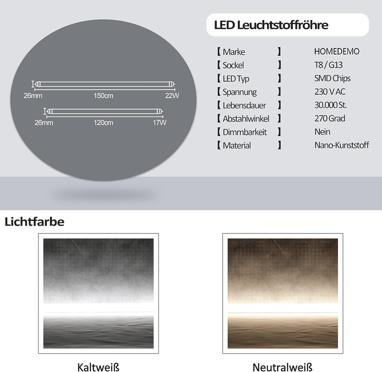 [5 Pièces] LED Néon Tube Fluorescente T8 120cm Lumière d'éclairage de la lampe de remplacement abat jour Nano Plastiquede haute énergie 1960lm 17W