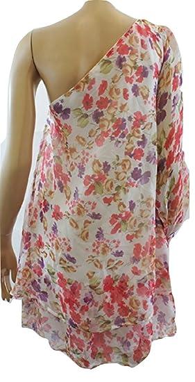 Topshop Rare White Floral Print One Shoulder Party Dress (UK 10)