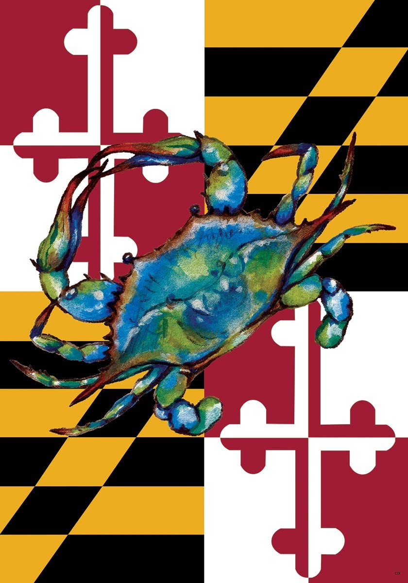 Custom Decor Blue Crab - Garden Size, Decorative Double Sided, Licensed and Copyrighted Flag - Made in USA Inc. 12 Inch X 17.99 Inch Approx.