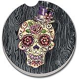 CounterArt Absorbent Stoneware Car Coaster, Sugar Skull, Set of 2