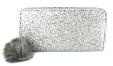 5eb3037925 New Ladies Womens Sliver Full Glitter Pom Pom Purse - Silver Glitter - UK  SIZE