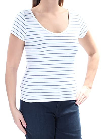 5fd1ba027d7639 Image Unavailable. Image not available for. Color  Denim   Supply Ralph  Lauren Womens Striped Short Sleeves T-Shirt Blue L