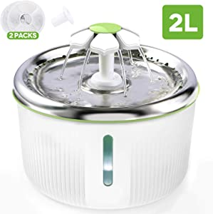 lesotc Cat Fountain Stainless Steel 68oz/2L Pet Water Fountain Ultra Quiet 2 Ways to Drink Dog Water Fountain Automatic Drinking Cat Water Dispenser Dog Fountain LED Light with 2 Replacement Filters