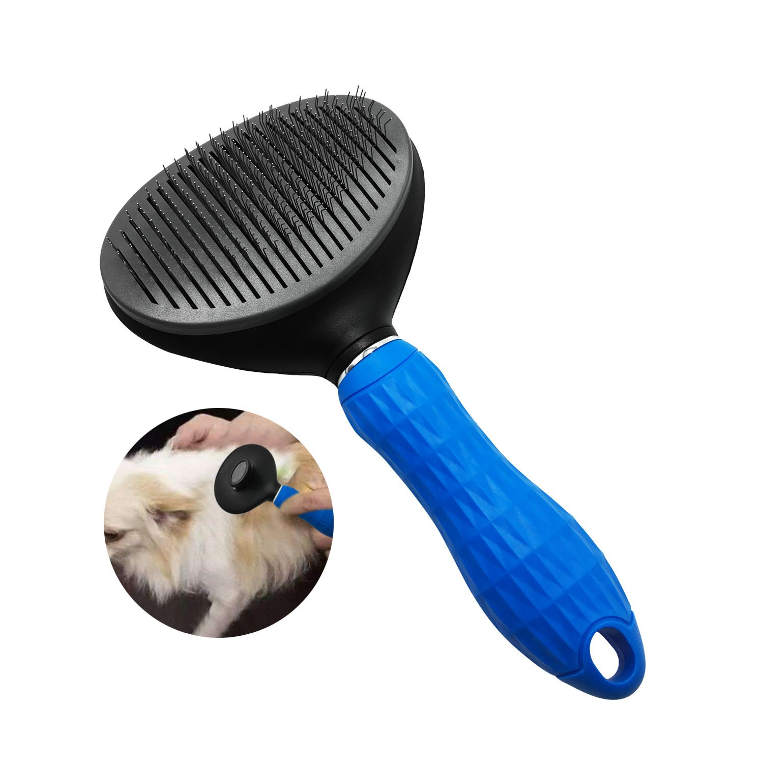 Large, bluee FurPro pet self-Cleaning Slicker Brush for Dogs,Easy to Remove Loose Hair, Large