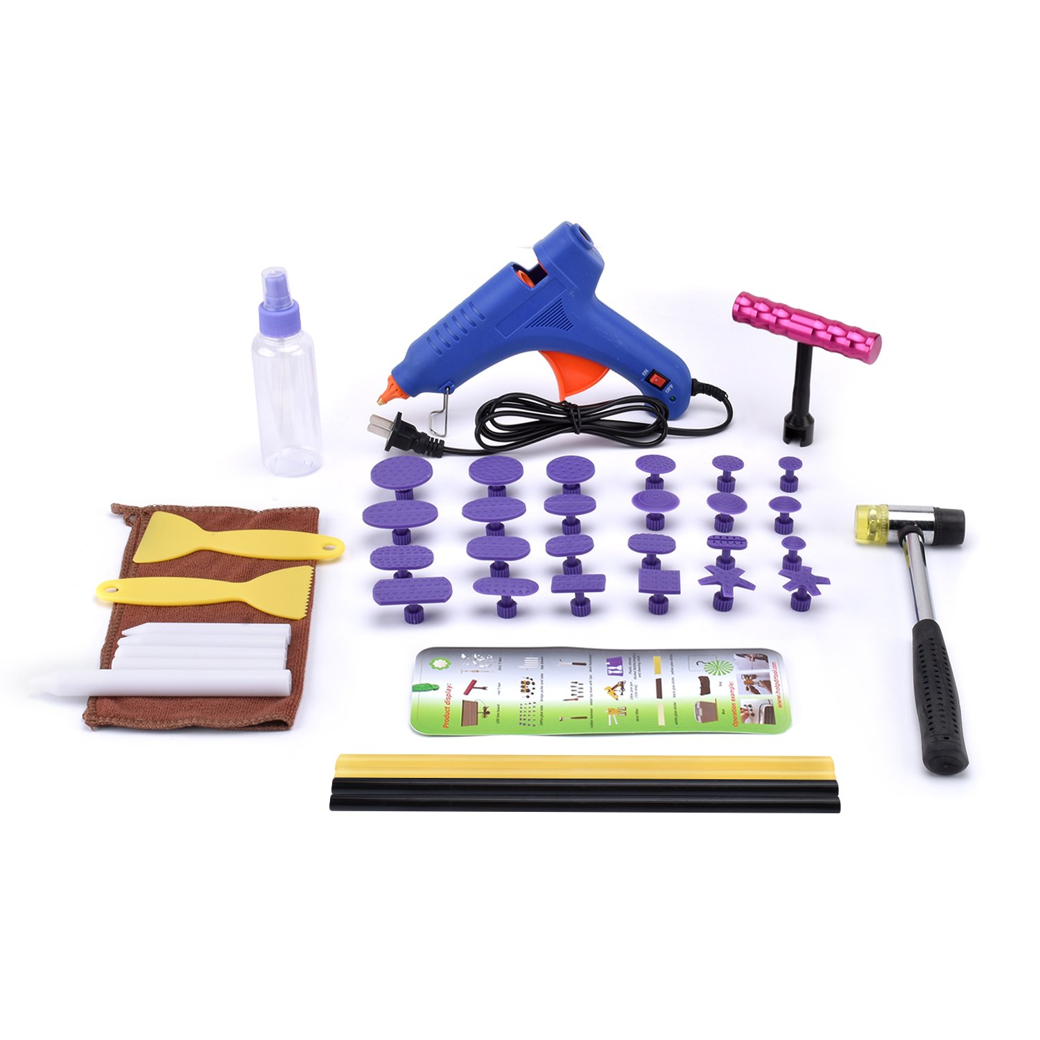 HOTPDR Paintless Dent Removal Tools Dent Repair Glue Puller Kit Pdr Tools for Car Dent Repair for Automobile Body Motorcycle Refrigerator Washer (41pcs)