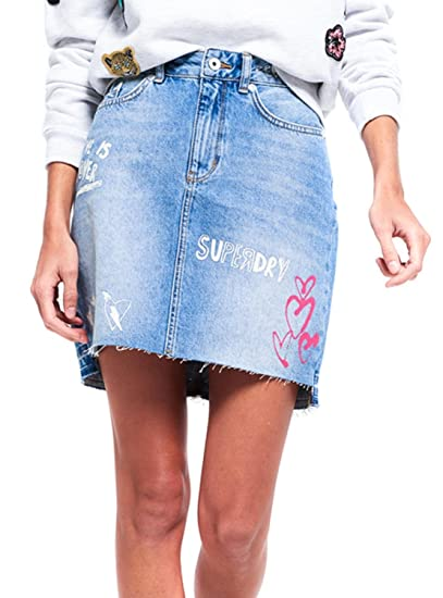 Superdry Falda Denim Mini 26 Azul: Amazon.es: Ropa y accesorios