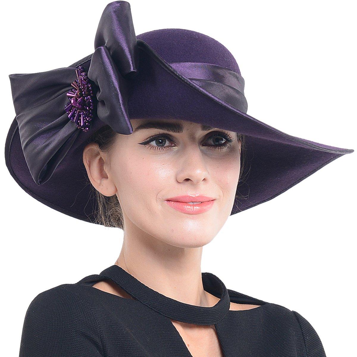 FORBUSITE Women Wool Felt Hats Church Dress Hat for Winter, Vintage Handmade Purple