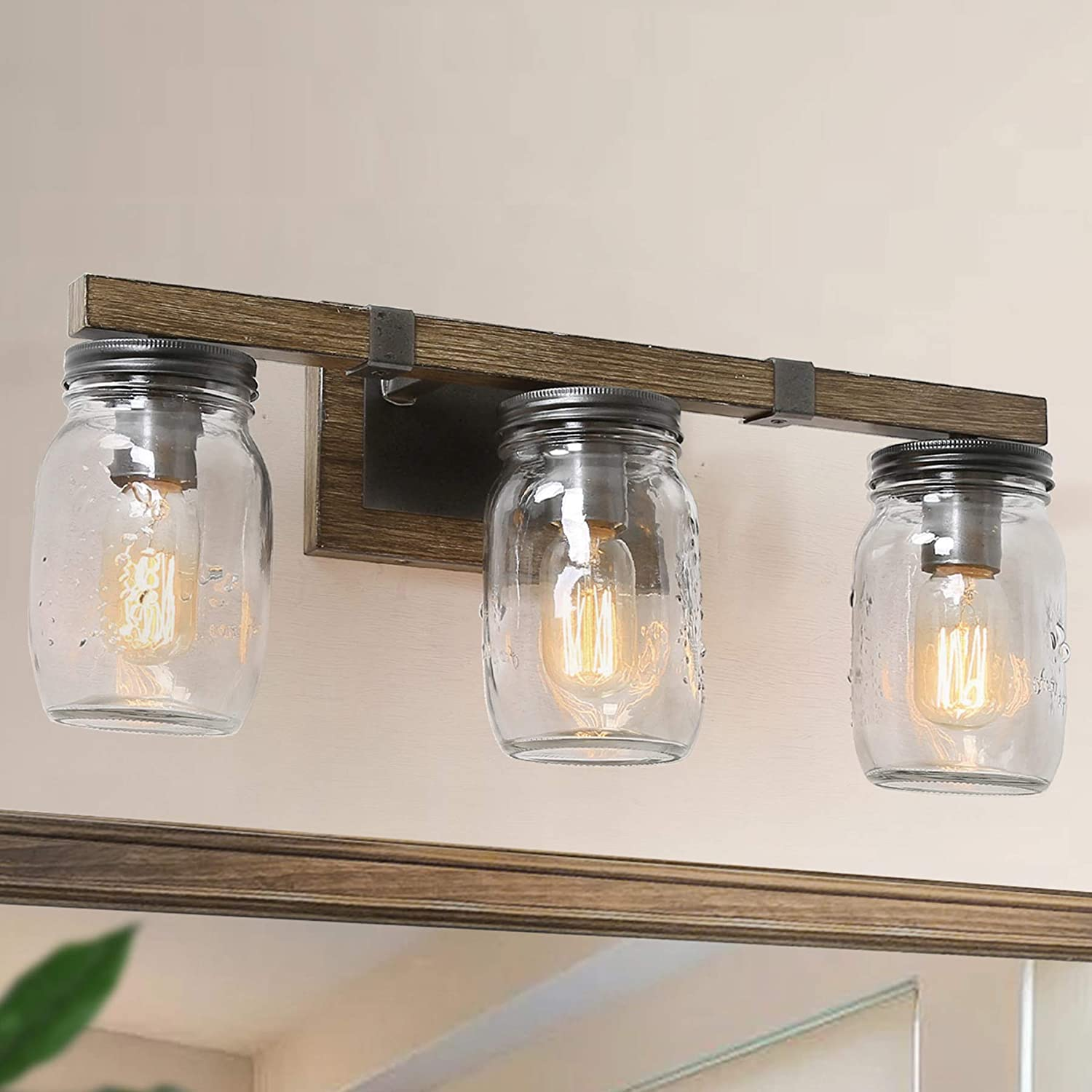 LNC Bathroom Light Fixtures, Farmhouse Bathroom Vanity Lights,Mason Jar Lights 3 Lights Bathroom Lighting