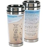 Footprints in the Sand Poem 16 Oz. Stainless Steel Insulated Travel Mug with Lid