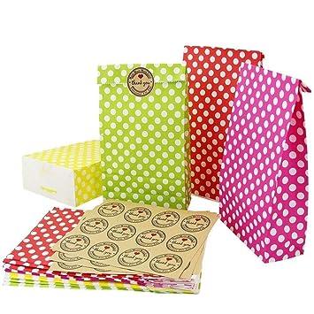 Sac Cadeau à Pois Kbnian 24pcs Sac Cadeau En Papier Kraft