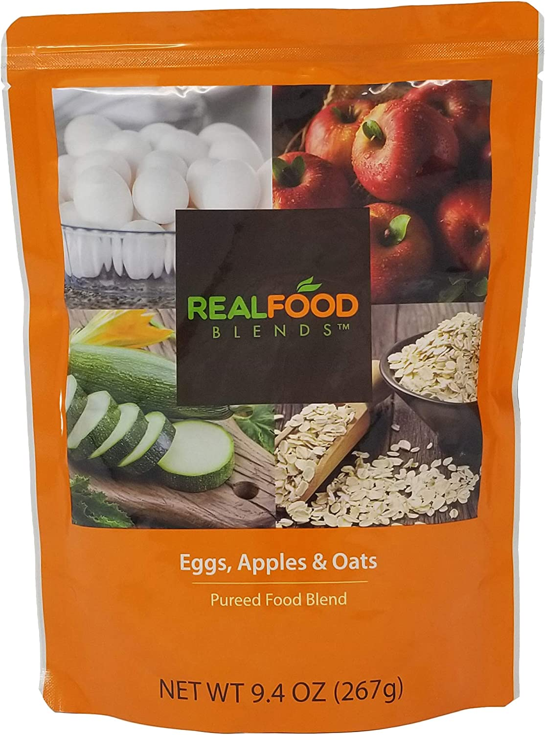 Real Food Blends Eggs, Apples & Oats Pureed Blended Meal for Feeding Tubes, 9.4 oz Pouch (Pack of 12 Pouches)
