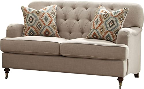 ACME Furniture 52581 Alianza Loveseat with 2 Pillows, Beige Fabric