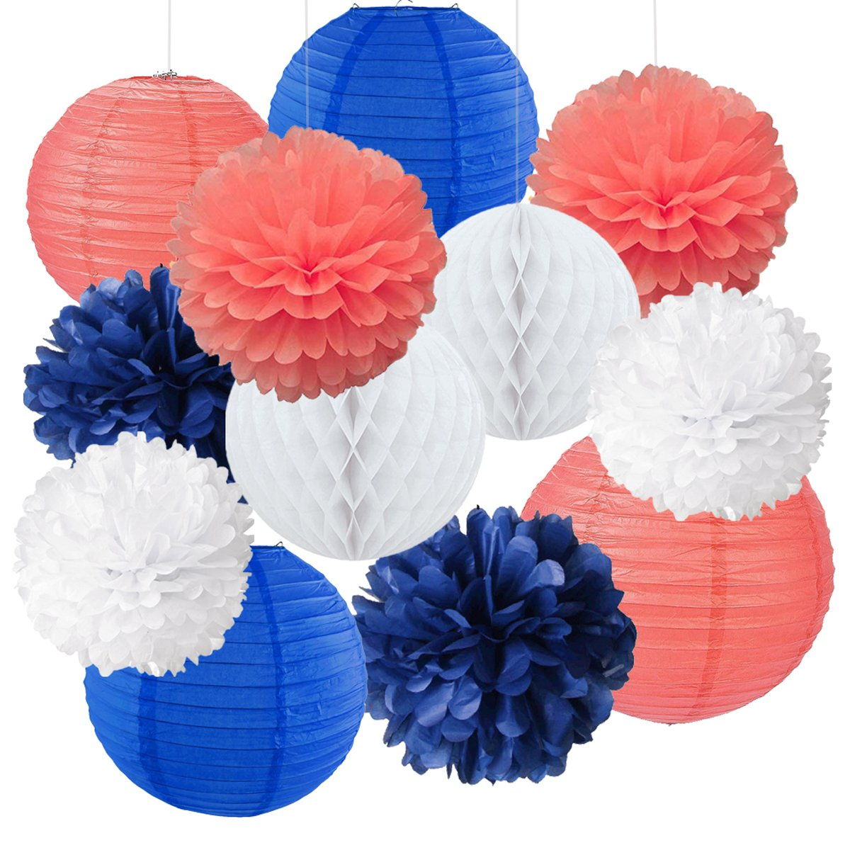 12pcs Mixed Royal Blue Coral White Party Tissue Pom Poms Hanging Paper Lantern Honeycomb Balls Nautical Themed Vintage Wedding Birthday Shower Party Nursery Decoration DreammadeStudio