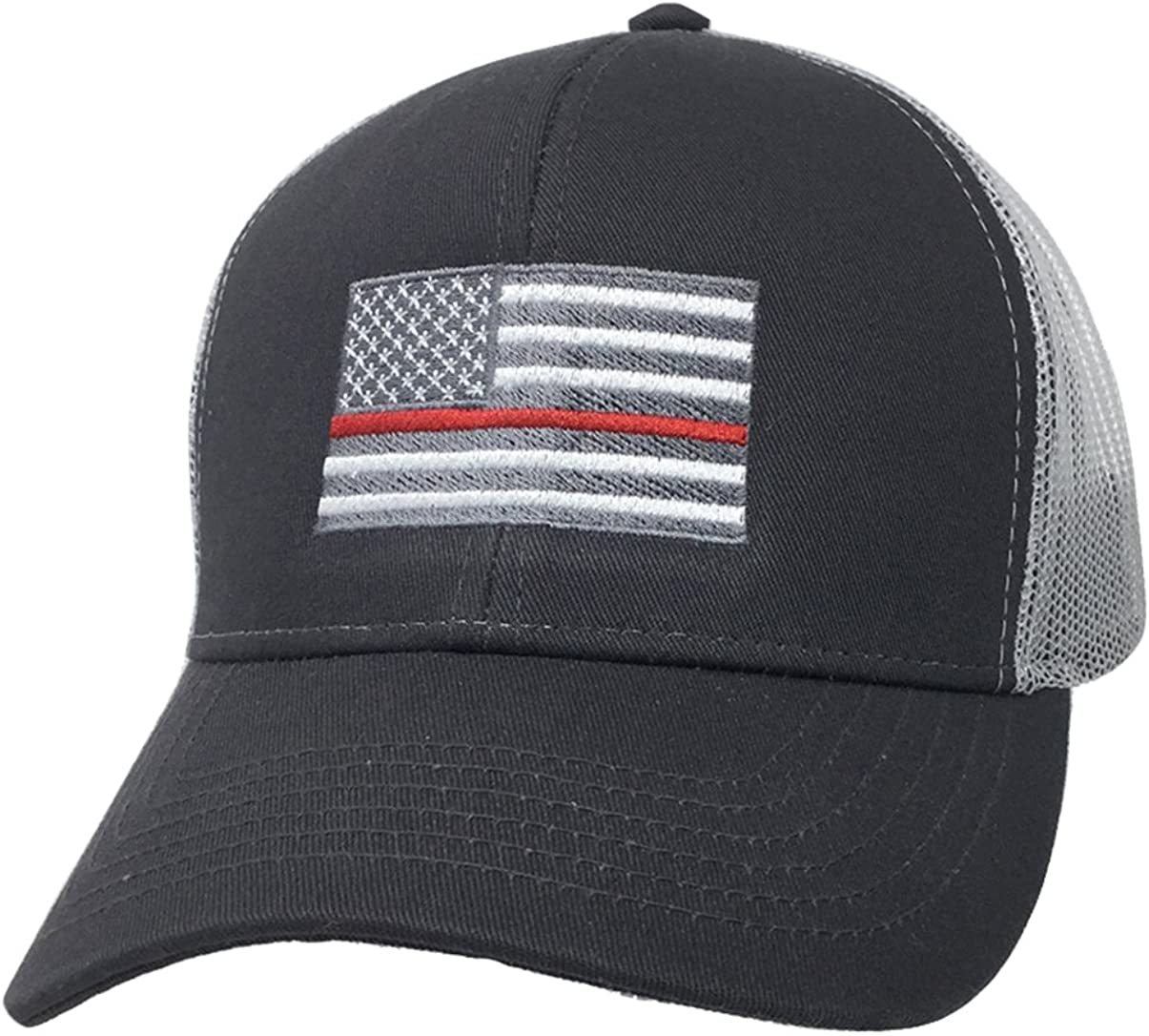 Firefighter SnapBack White American Flag w// Red Stripe