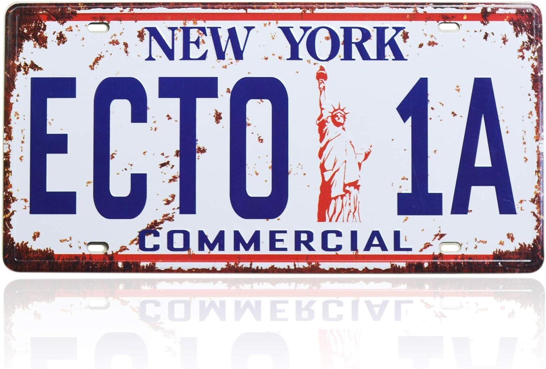 Ghostbusters License Plate Memorabilia, Embossed Replica, Movie Prop Metal Stamped Vanity Number Tag, 12x6 inch (ECTO-1A)