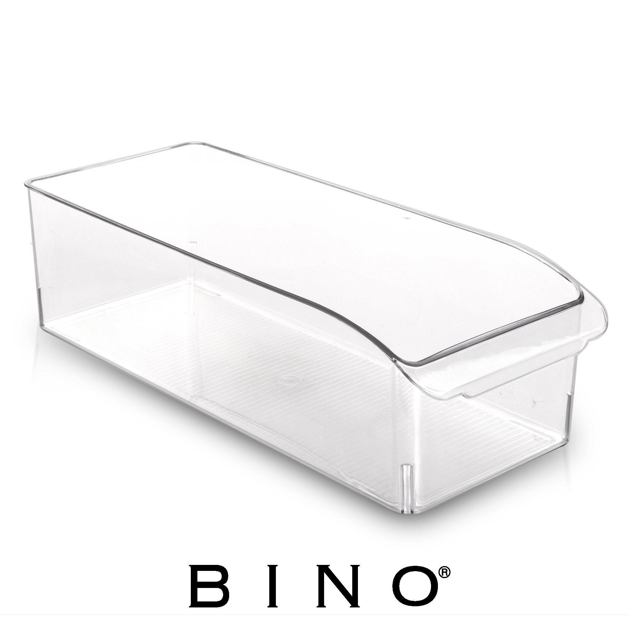 BINO Refrigerator, Freezer and Pantry Cabinet Storage Drawer Organizer Bin, Clear and Transparent Plastic Nesting Container for Home and Kitchen with Built-In Pull Out Handle, Large
