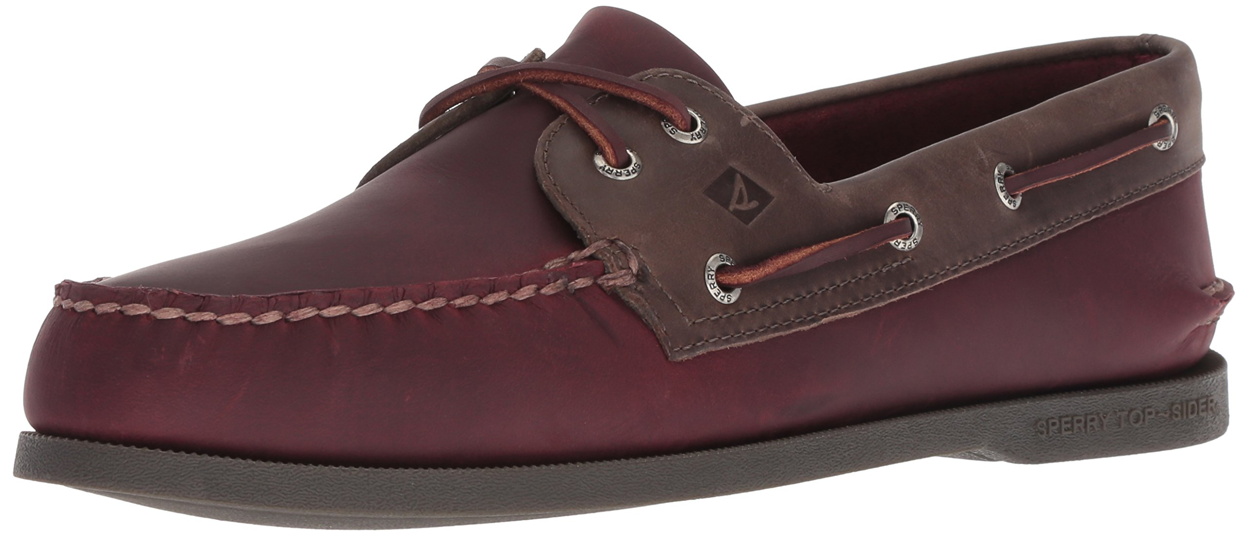 Sperry Top-Sider Men's a/O 2-Eye Pullup Boat Shoe, Burgundy/Grey, 9.5 M US by Sperry Top-Sider
