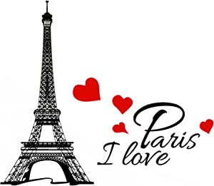 Decor MI Eiffel Tower I Love Paris Waterproof Removable Wall Decal Stickers for Living Room Bedroom Bathroom Kitchen Office Background Wall Art Wallpaper 15x9 inch