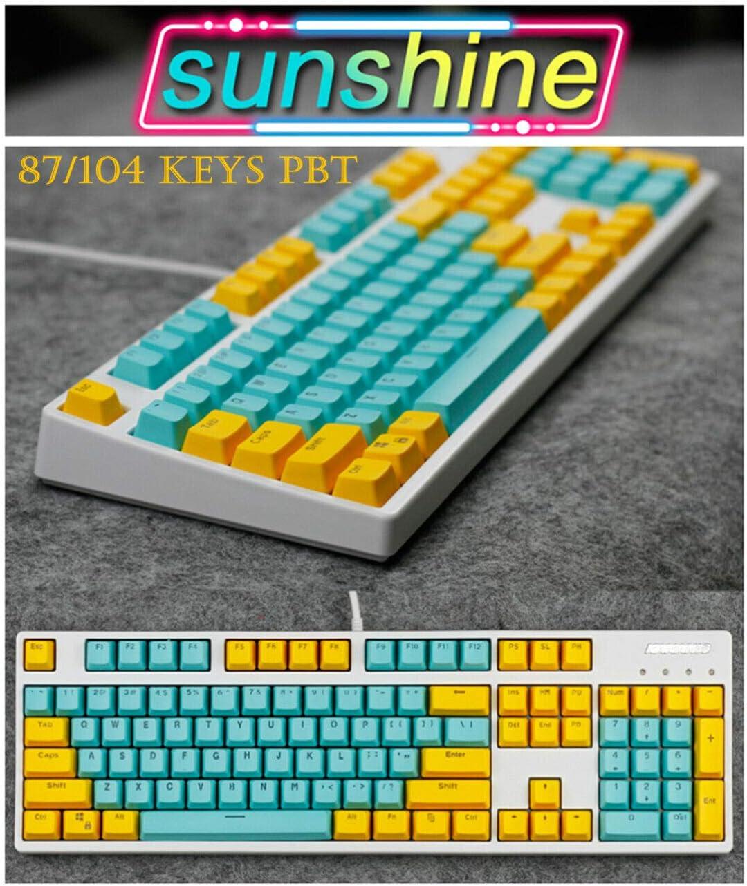 87 Keys 87//104 Key Sunshine Doubleshot PBT Keycaps Translucent Backlit Keyset for Cherry MX Gaming Mechanical Keyboard