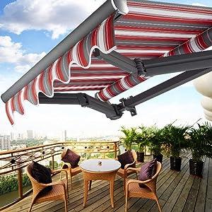 ZHAS Garden Parasols Awning 2m Manual DIY Patio Gazebo Aluminum Retractable - Canopy Waterproof/Sunscreen/Anti-Wind 8