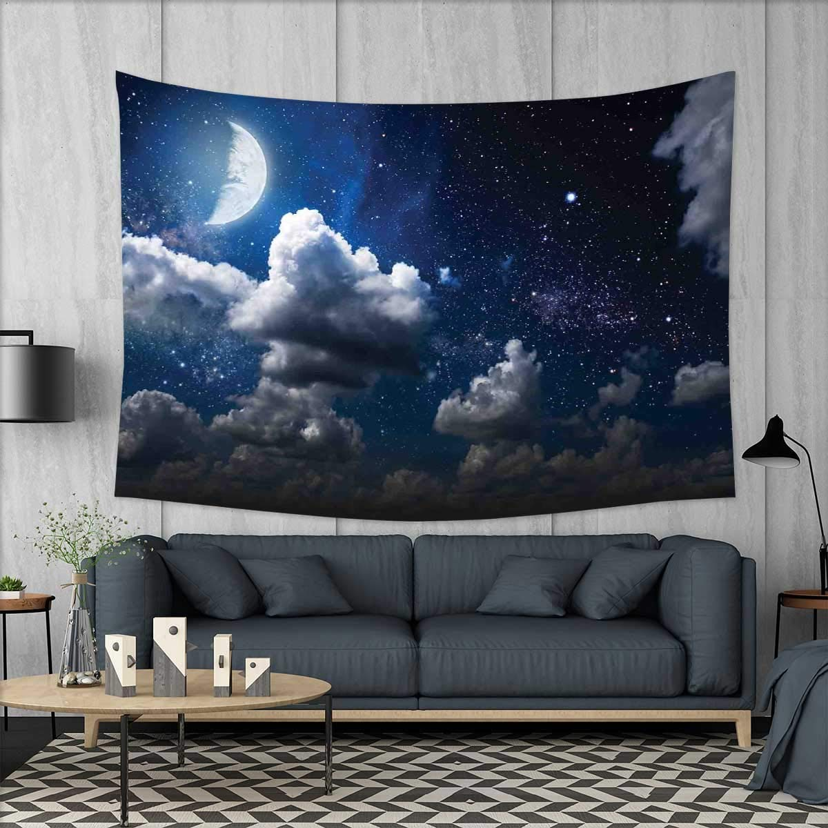 smallbeefly Clouds Tapestry Wall Tapestry Celestial Solar Night Scene Stars Moon and Clouds Heaven Place in Cosmos Theme Art Wall Decor 60''x51'' Dark Blue White