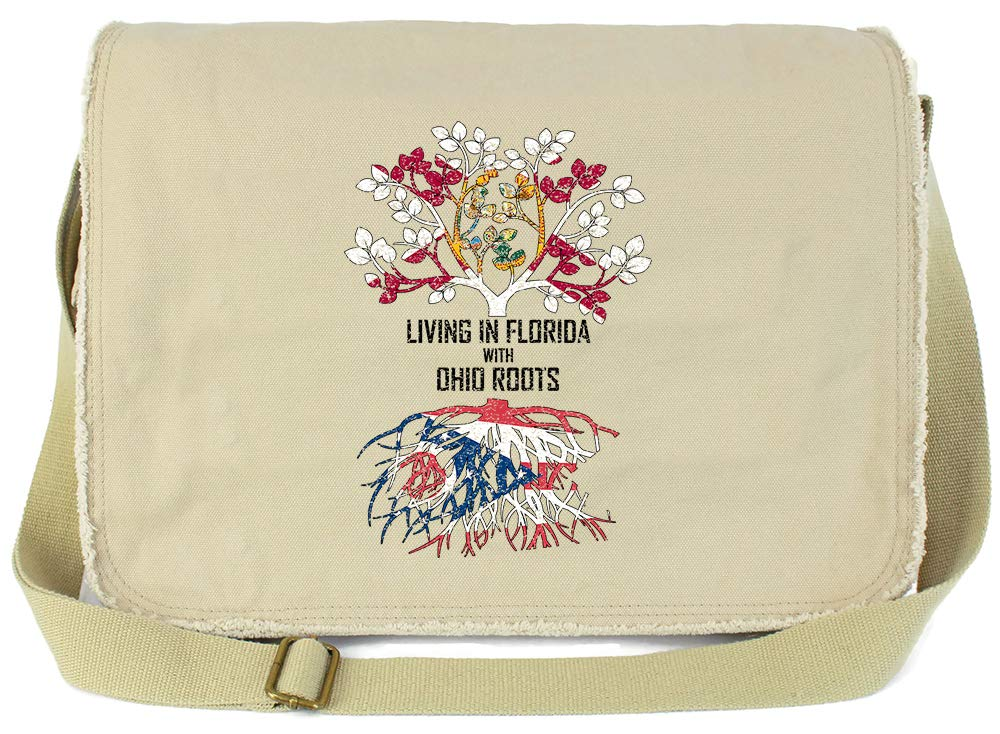 Tenacitee Living In Florida with Ohio Roots Grey Brushed Canvas Messenger Bag