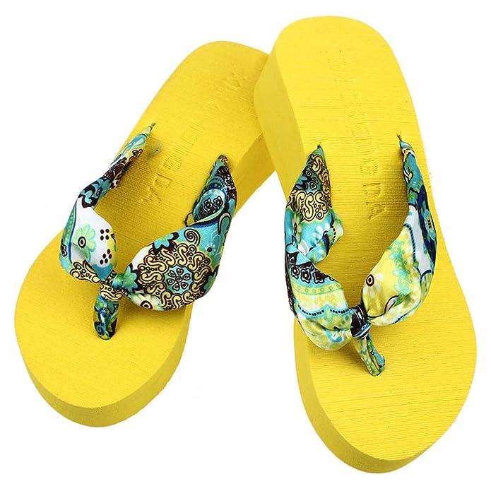 Amazon.com | Women Flops Slippers Summer Stripe High Beach Sandals Flip | Flip-Flops