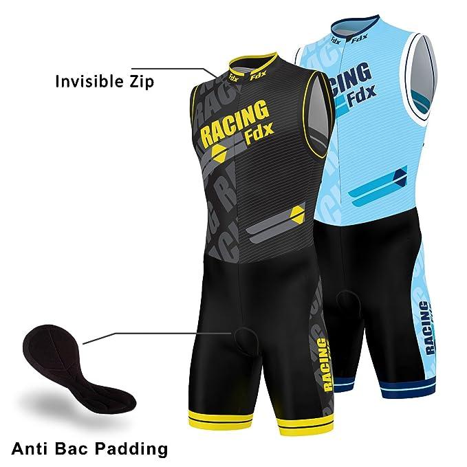 FDX - Traje masculino acolchado de compresión para triatlón, ideal para correr, natación y ciclismo, color amarillo, tamaño Small: Amazon.es: Deportes y ...