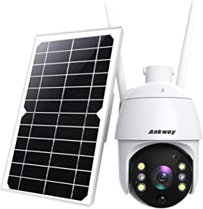 Security Camera Outdoor, Ankway Solar Security Camera with 18000mAh Battery, Wireless Security Camera System, 2.4G WiFi Camera with 1080P FHD Color Night Vision, IP65,2-Way Audio, Pan Tilt, PIR