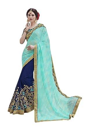 ce6e685e8d Amazon.com: Indian Fashion Indian Women Designer Party wear pista green  Color Saree Sari K-5430: Clothing