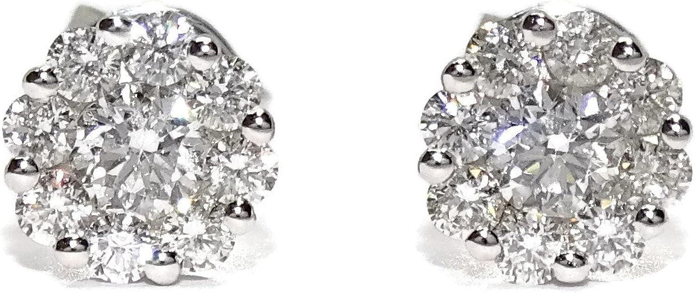 Pendientes de 0.46cts de diamantes y oro blanco de 18kts. 6mm de diámetro. Cierre presión