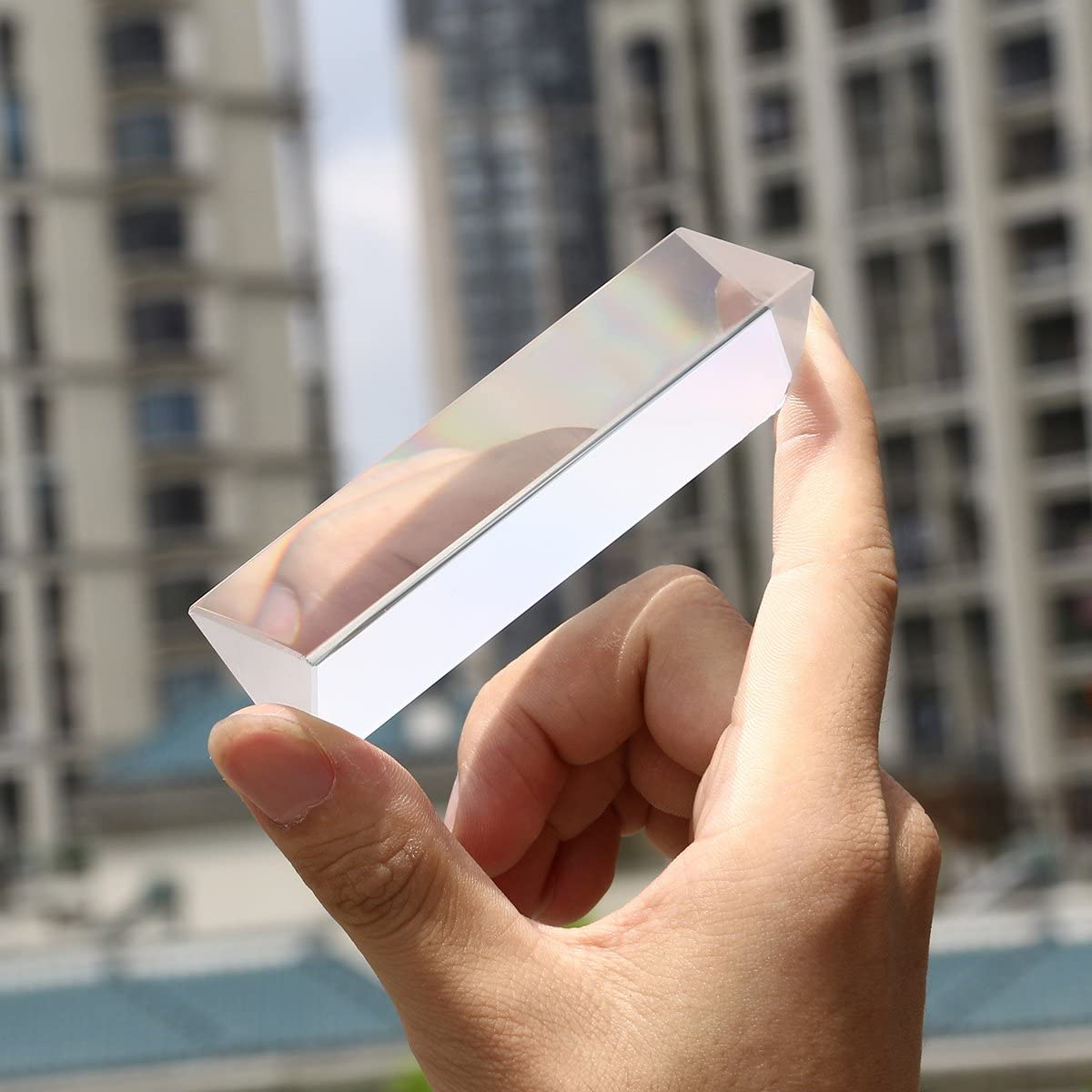 Hemobllo Optical Glass Triangular Prism for Teaching Light Spectrum Physics and Photo Photography Prism