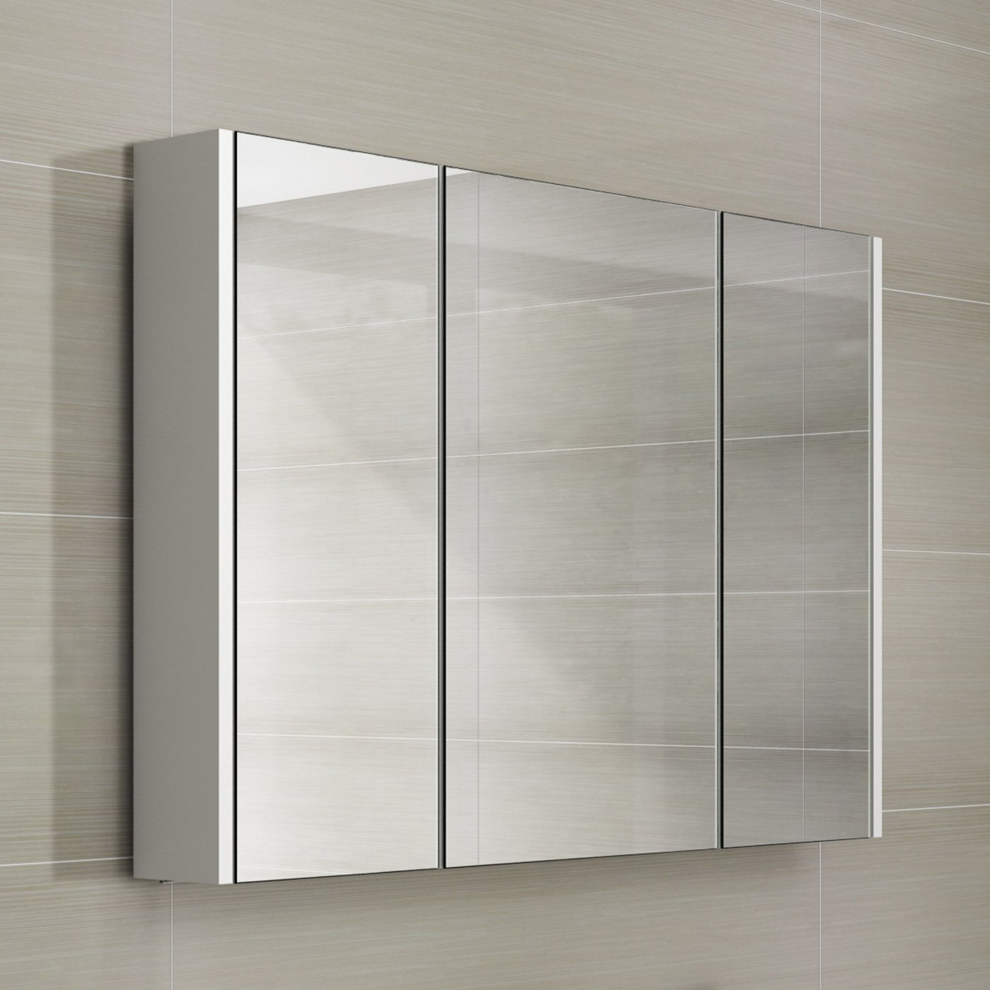 900mm White Gloss Wall Hung 3 Door Bathroom Mirror Cabinet Storage Unit iBathUK