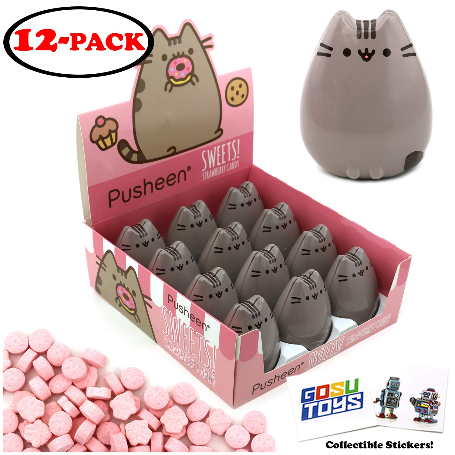 Pusheen Tin Candy (12 Pack Case) Sweet Strawberry Flavor Gift Stuffer with 2 GosuToys Stickers by Gosu Toys
