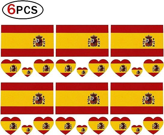 Tatuaje Romote temporal de las banderas nacionales de 2018 para el cuerpo y la cara de España Imán de la bandera para los aficionados al fútbol 6 hojas: Amazon.es: Hogar
