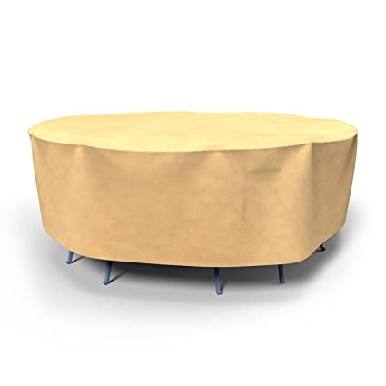 Budge All-Seasons Round Patio Table and Chairs Combo Cover, Medium (Tan)