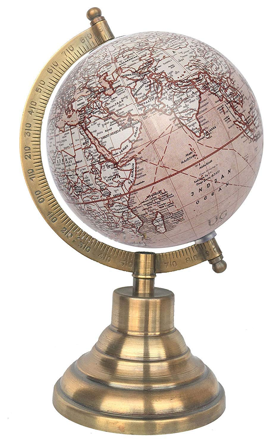 World Globe Office Decor Home Decor Gift Item by Globes Hub Antique Globe with Brass Antique Arc and Base 5 Cream Red Multicolour Educational