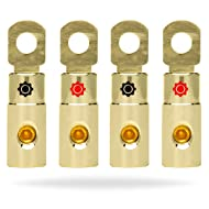 InstallGear 4 AWG Gauge Gold Ring Set Screw Battery Ring Terminals (4 Pack)