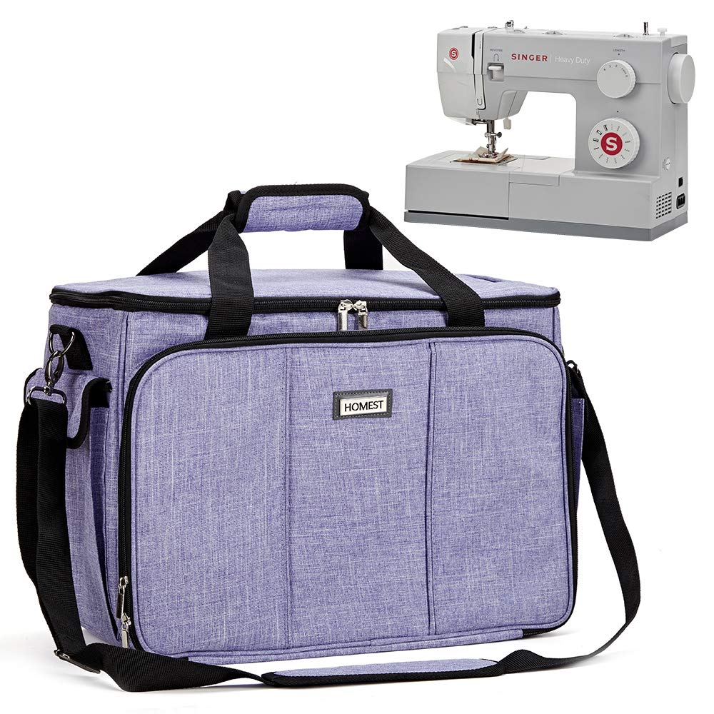 HOMEST Sewing Machine Carrying Case with Multiple Storage Pockets Janome Patent Pending Universal Tote Bag with Shoulder Strap Compatible with Most Standard Singer Purple Brother