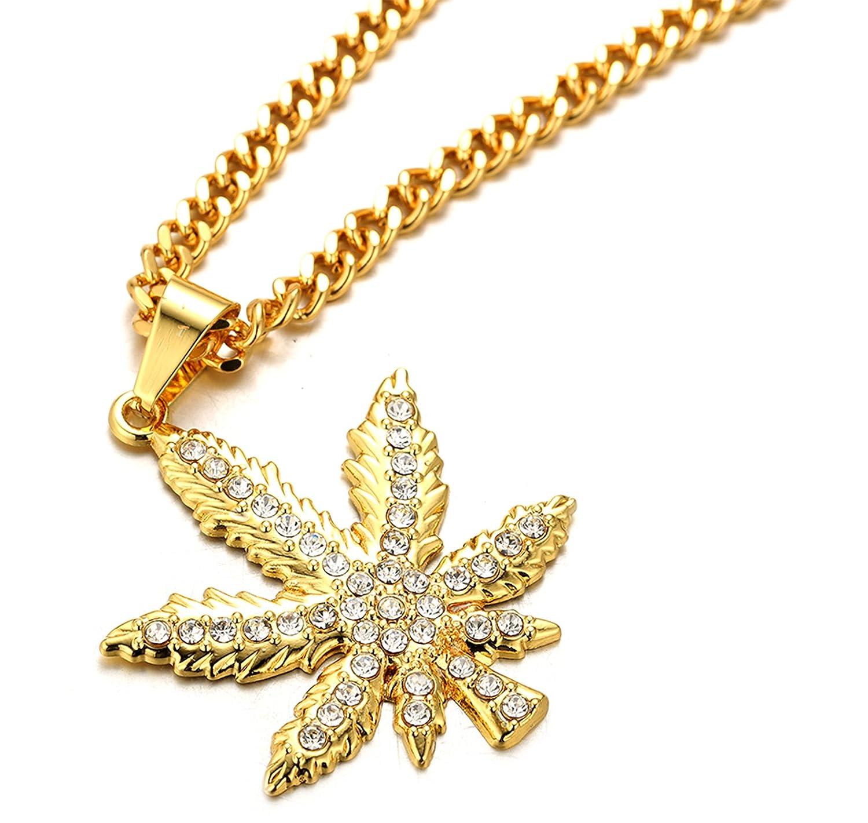 Halukakah ● Marijuana ● Le Collier de lhomme en 18K Or V/éritable et Dor/é avec Marijuana Pendentif et La Cha/îne Cubaine Gratuit de 30